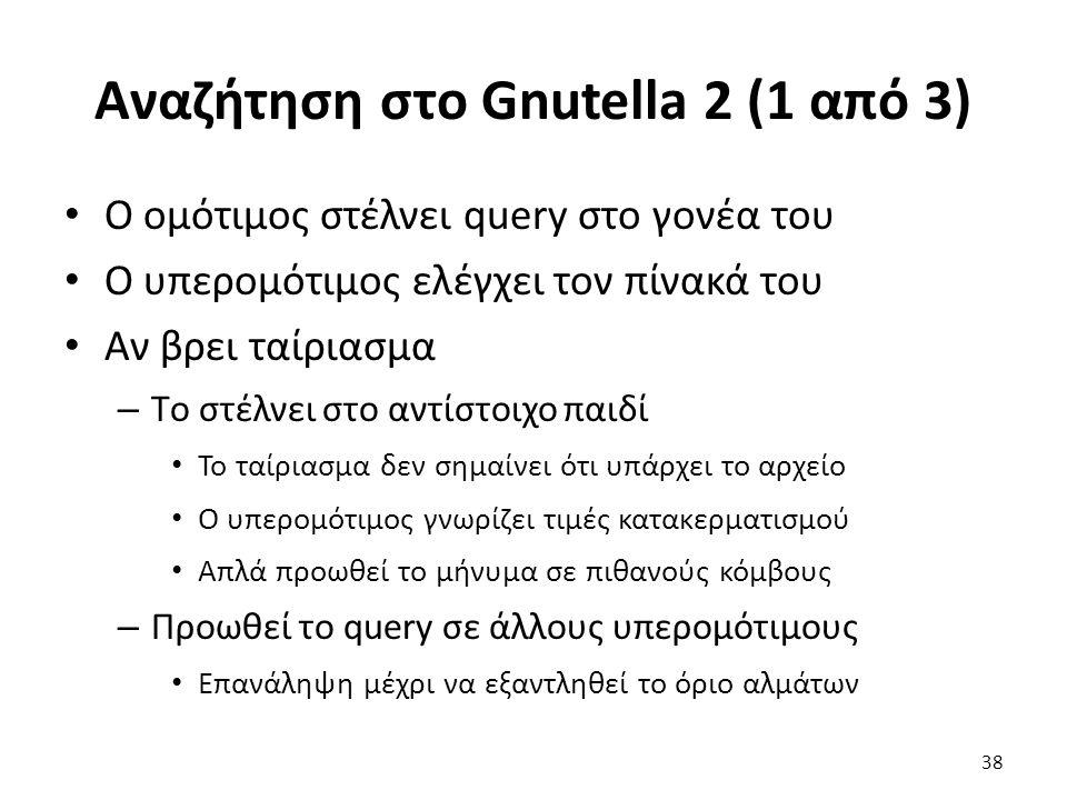 Αναζήτηση στο Gnutella 2 (1 από 3) Ο ομότιμος στέλνει query στο γονέα του Ο υπερομότιμος ελέγχει τον πίνακά του Αν βρει ταίριασμα – Tο στέλνει στο αντίστοιχο παιδί Το ταίριασμα δεν σημαίνει ότι υπάρχει το αρχείο Ο υπερομότιμος γνωρίζει τιμές κατακερματισμού Απλά προωθεί το μήνυμα σε πιθανούς κόμβους – Προωθεί το query σε άλλους υπερομότιμους Επανάληψη μέχρι να εξαντληθεί το όριο αλμάτων 38