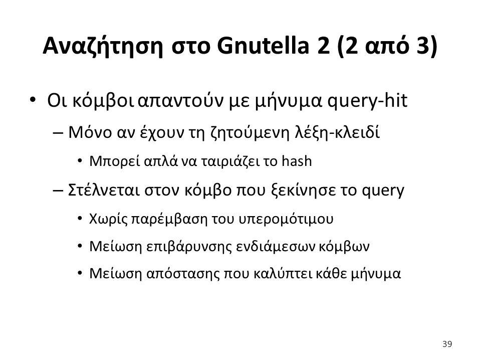 Αναζήτηση στο Gnutella 2 (2 από 3) Οι κόμβοι απαντούν με μήνυμα query-hit – Μόνο αν έχουν τη ζητούμενη λέξη-κλειδί Μπορεί απλά να ταιριάζει το hash – Στέλνεται στον κόμβο που ξεκίνησε το query Χωρίς παρέμβαση του υπερομότιμου Μείωση επιβάρυνσης ενδιάμεσων κόμβων Μείωση απόστασης που καλύπτει κάθε μήνυμα 39