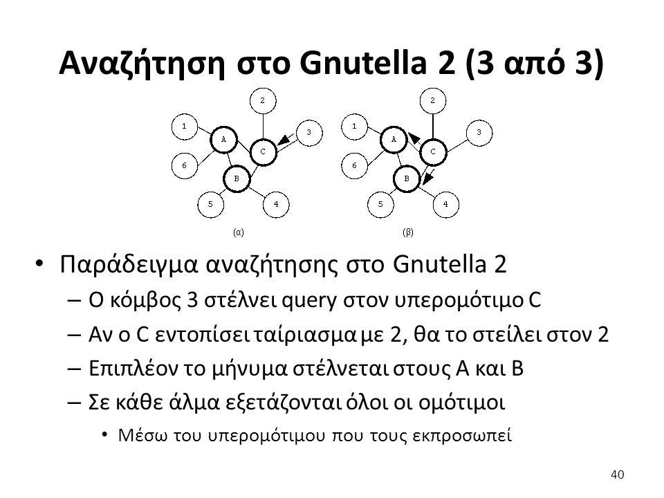 Αναζήτηση στο Gnutella 2 (3 από 3) Παράδειγμα αναζήτησης στο Gnutella 2 – Ο κόμβος 3 στέλνει query στον υπερομότιμο C – Αν ο C εντοπίσει ταίριασμα με 2, θα το στείλει στον 2 – Επιπλέον το μήνυμα στέλνεται στους A και B – Σε κάθε άλμα εξετάζονται όλοι οι ομότιμοι Μέσω του υπερομότιμου που τους εκπροσωπεί 40