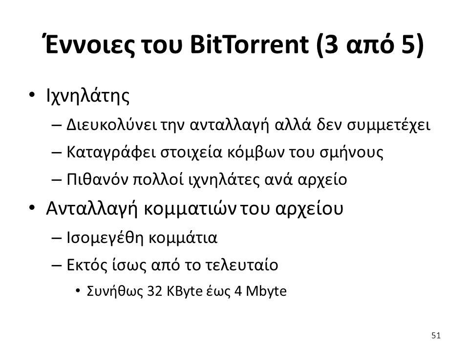 Έννοιες του BitTorrent (3 από 5) Ιχνηλάτης – Διευκολύνει την ανταλλαγή αλλά δεν συμμετέχει – Καταγράφει στοιχεία κόμβων του σμήνους – Πιθανόν πολλοί ιχνηλάτες ανά αρχείο Ανταλλαγή κομματιών του αρχείου – Ισομεγέθη κομμάτια – Εκτός ίσως από το τελευταίο Συνήθως 32 KByte έως 4 Mbyte 51