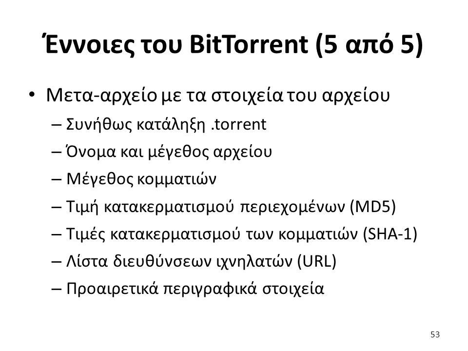 Έννοιες του BitTorrent (5 από 5) Μετα-αρχείο με τα στοιχεία του αρχείου – Συνήθως κατάληξη.torrent – Όνομα και μέγεθος αρχείου – Μέγεθος κομματιών – Τιμή κατακερματισμού περιεχομένων (MD5) – Τιμές κατακερματισμού των κομματιών (SHA-1) – Λίστα διευθύνσεων ιχνηλατών (URL) – Προαιρετικά περιγραφικά στοιχεία 53
