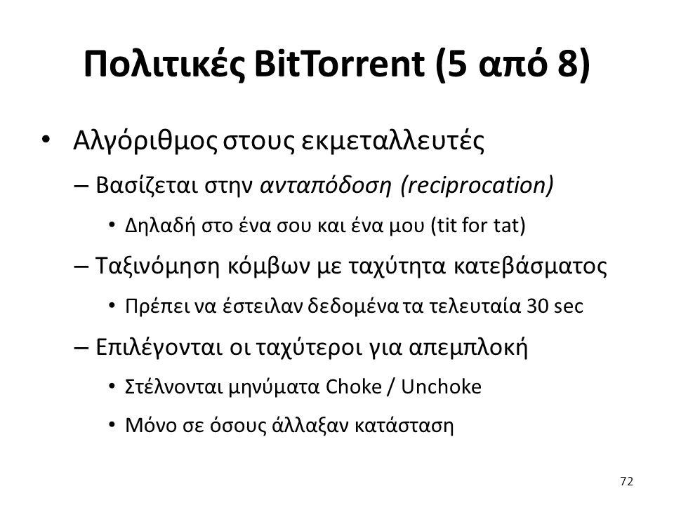 Πολιτικές BitTorrent (5 από 8) Αλγόριθμος στους εκμεταλλευτές – Βασίζεται στην ανταπόδοση (reciprocation) Δηλαδή στο ένα σου και ένα μου (tit for tat) – Ταξινόμηση κόμβων με ταχύτητα κατεβάσματος Πρέπει να έστειλαν δεδομένα τα τελευταία 30 sec – Επιλέγονται οι ταχύτεροι για απεμπλοκή Στέλνονται μηνύματα Choke / Unchoke Μόνο σε όσους άλλαξαν κατάσταση 72