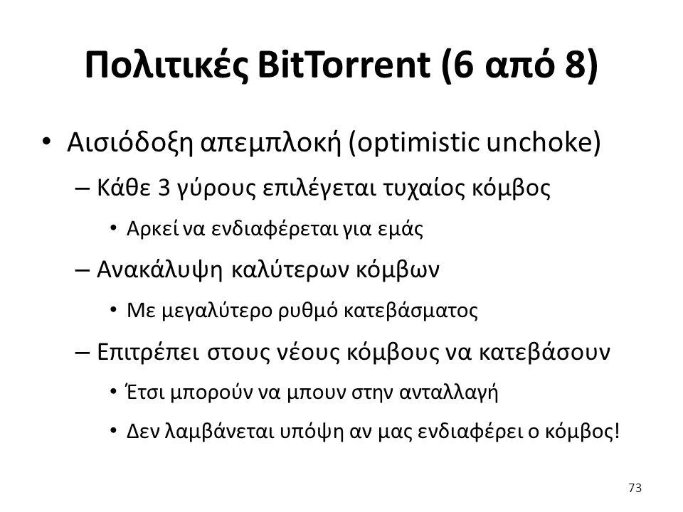 Πολιτικές BitTorrent (6 από 8) Αισιόδοξη απεμπλοκή (optimistic unchoke) – Κάθε 3 γύρους επιλέγεται τυχαίος κόμβος Αρκεί να ενδιαφέρεται για εμάς – Ανακάλυψη καλύτερων κόμβων Με μεγαλύτερο ρυθμό κατεβάσματος – Επιτρέπει στους νέους κόμβους να κατεβάσουν Έτσι μπορούν να μπουν στην ανταλλαγή Δεν λαμβάνεται υπόψη αν μας ενδιαφέρει ο κόμβος.