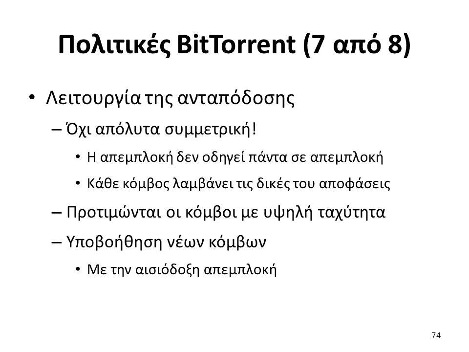 Πολιτικές BitTorrent (7 από 8) Λειτουργία της ανταπόδοσης – Όχι απόλυτα συμμετρική.