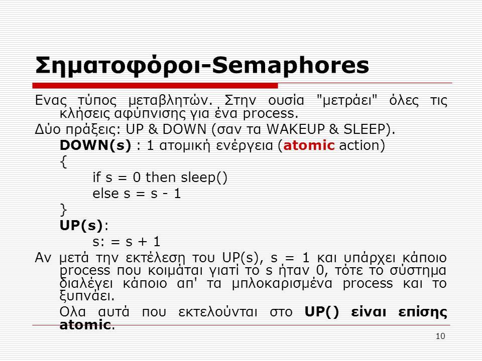 10 Σηματοφόροι-Semaphores Eνας τύπος μεταβλητών. Στην ουσία