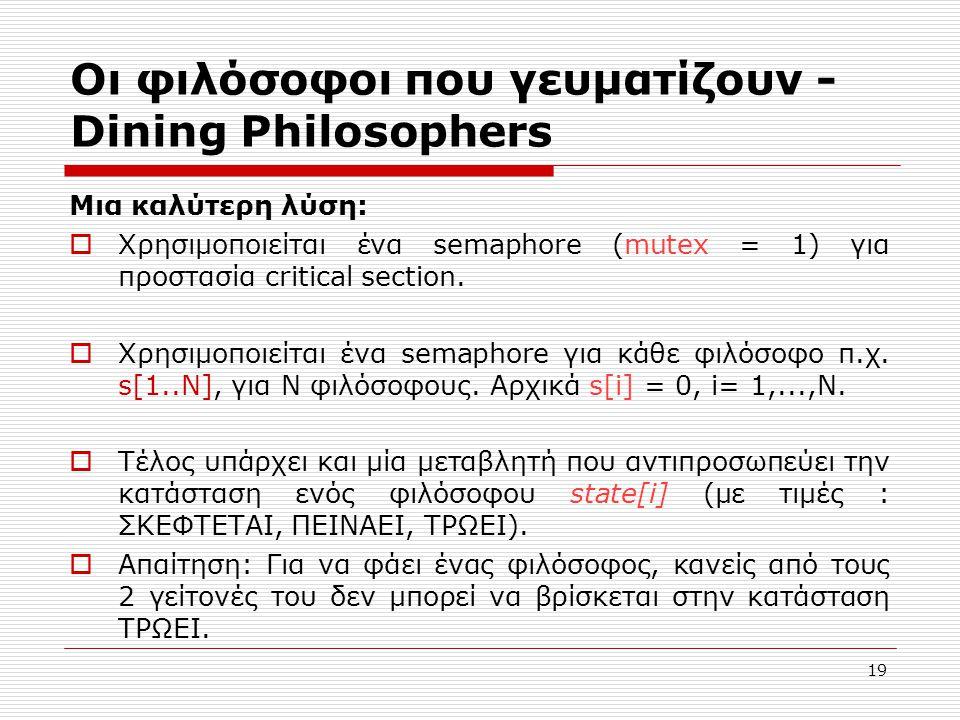 19 Οι φιλόσοφοι που γευματίζουν - Dining Philosophers Μια καλύτερη λύση:  Χρησιμοποιείται ένα semaphore (mutex = 1) για προστασία critical section. 