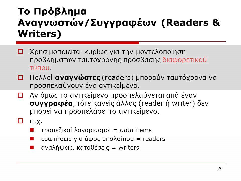 20 Το Πρόβλημα Αναγνωστών/Συγγραφέων (Readers & Writers)  Χρησιμοποιείται κυρίως για την μοντελοποίηση προβλημάτων ταυτόχρονης πρόσβασης διαφορετικού