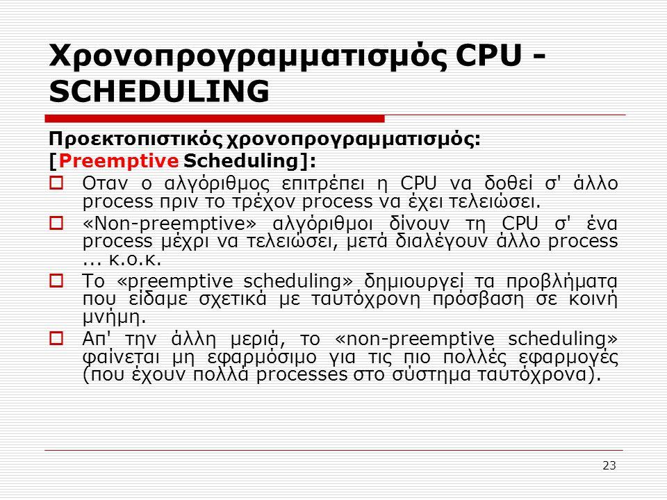 23 Χρονοπρογραμματισμός CPU - SCHEDULING Προεκτοπιστικός χρονοπρογραμματισμός: [Preemptive Scheduling]:  Οταν ο αλγόριθμος επιτρέπει η CPU να δοθεί σ