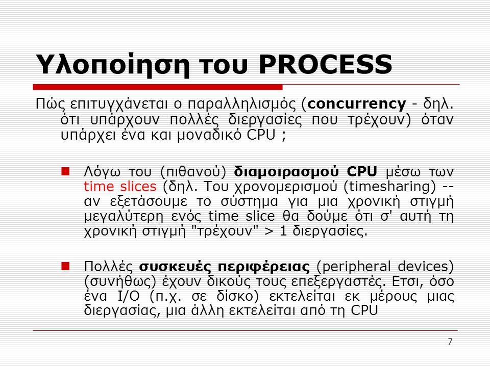 7 Υλοποίηση του PROCESS Πώς επιτυγχάνεται ο παραλληλισμός (concurrency - δηλ. ότι υπάρχουν πολλές διεργασίες που τρέχουν) όταν υπάρχει ένα και μοναδικ