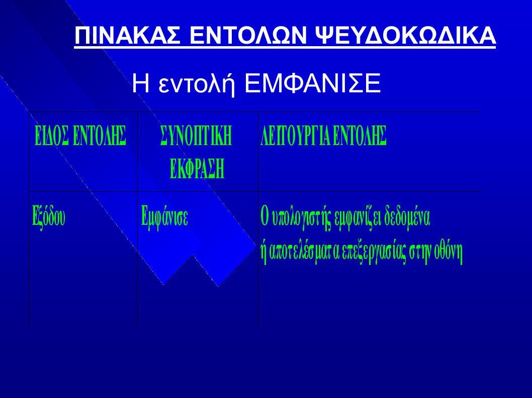 ΠΙΝΑΚΑΣ ΕΝΤΟΛΩΝ ΨΕΥΔΟΚΩΔΙΚΑ Η εντολή ΕΜΦΑΝΙΣΕ