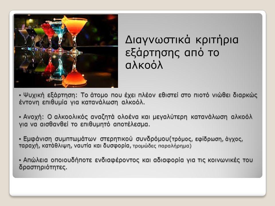 ▪ Ψυχική εξάρτηση: Το άτομο που έχει πλέον εθιστεί στο πιοτό νιώθει διαρκώς έντονη επιθυμία για κατανάλωση αλκοόλ. ▪ Ανοχή: Ο αλκοολικός αναζητά ολοέν