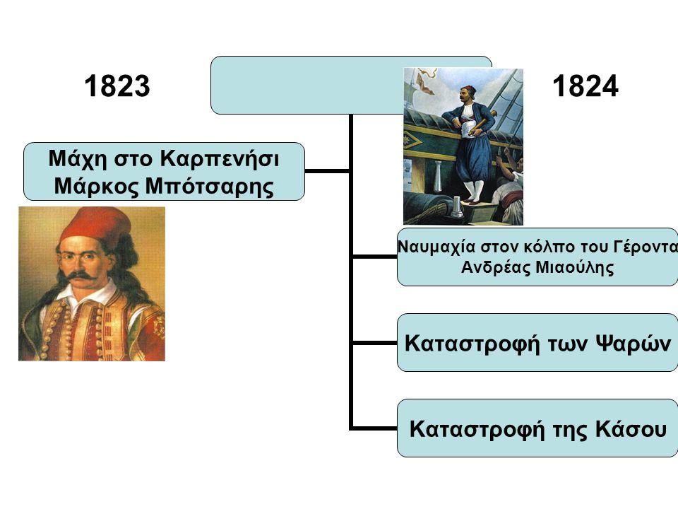 1823 1824 Ναυμαχία στον κόλπο του Γέροντα Ανδρέας Μιαούλης Καταστροφή των Ψαρών Καταστροφή της Κάσου Μάχη στο Καρπενήσι Μάρκος Μπότσαρης