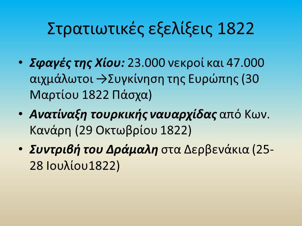 Στρατιωτικές εξελίξεις 1822 Σφαγές της Χίου: 23.000 νεκροί και 47.000 αιχμάλωτοι →Συγκίνηση της Ευρώπης (30 Μαρτίου 1822 Πάσχα) Ανατίναξη τουρκικής ναυαρχίδας από Κων.