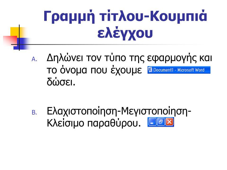 Γραμμή τίτλου-Κουμπιά ελέγχου A. Δηλώνει τον τύπο της εφαρμογής και το όνομα που έχουμε δώσει. B. Ελαχιστοποίηση-Μεγιστοποίηση- Κλείσιμο παραθύρου.