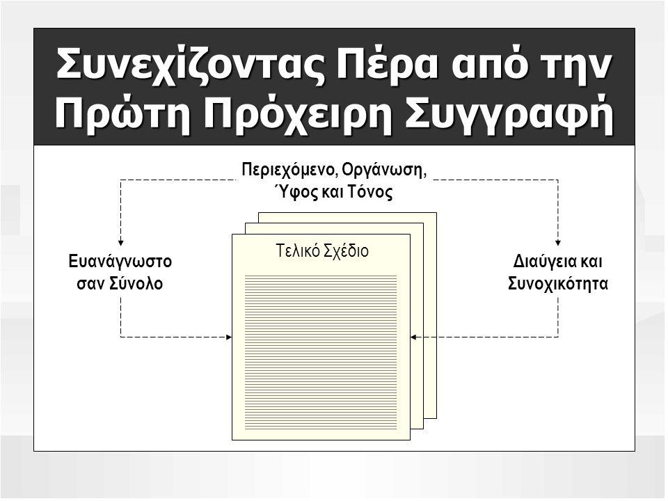 Συνεχίζοντας Πέρα από την Πρώτη Πρόχειρη Συγγραφή Τελικό Σχέδιο Περιεχόμενο, Οργάνωση, Ύφος και Τόνος Ευανάγνωστο σαν Σύνολο Διαύγεια και Συνοχικότητα