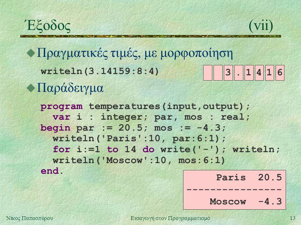 13Νίκος Παπασπύρου Εισαγωγή στον Προγραμματισμό Έξοδος(vii) u Πραγματικές τιμές, με μορφοποίηση writeln(3.14159:8:4) Paris 20.5 ---------------- Mosco