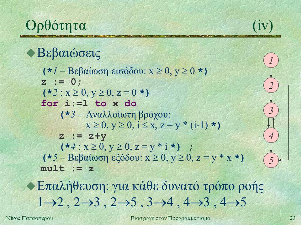 23Νίκος Παπασπύρου Εισαγωγή στον Προγραμματισμό Ορθότητα(iv) u Βεβαιώσεις (* 1 – Βεβαίωση εισόδου: x  0, y  0 *) z := 0; (* 2 : x  0, y  0, z = 0