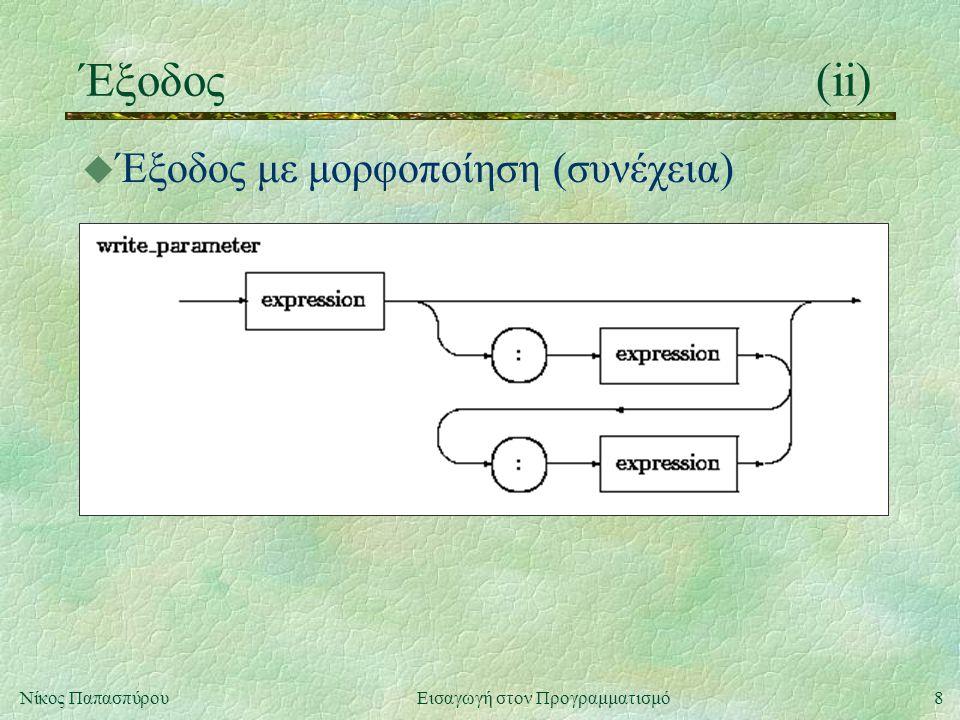 8Νίκος Παπασπύρου Εισαγωγή στον Προγραμματισμό Έξοδος(ii) u Έξοδος με μορφοποίηση (συνέχεια)
