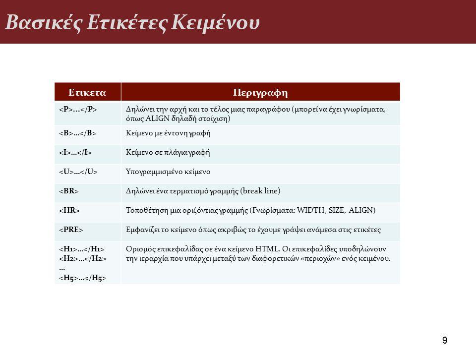 Βασικές Ετικέτες Κειμένου 9 ΕτικεταΠεριγραφη... Δηλώνει την αρχή και το τέλος μιας παραγράφου (μπορεί να έχει γνωρίσματα, όπως ALIGN δηλαδή στοίχιση)