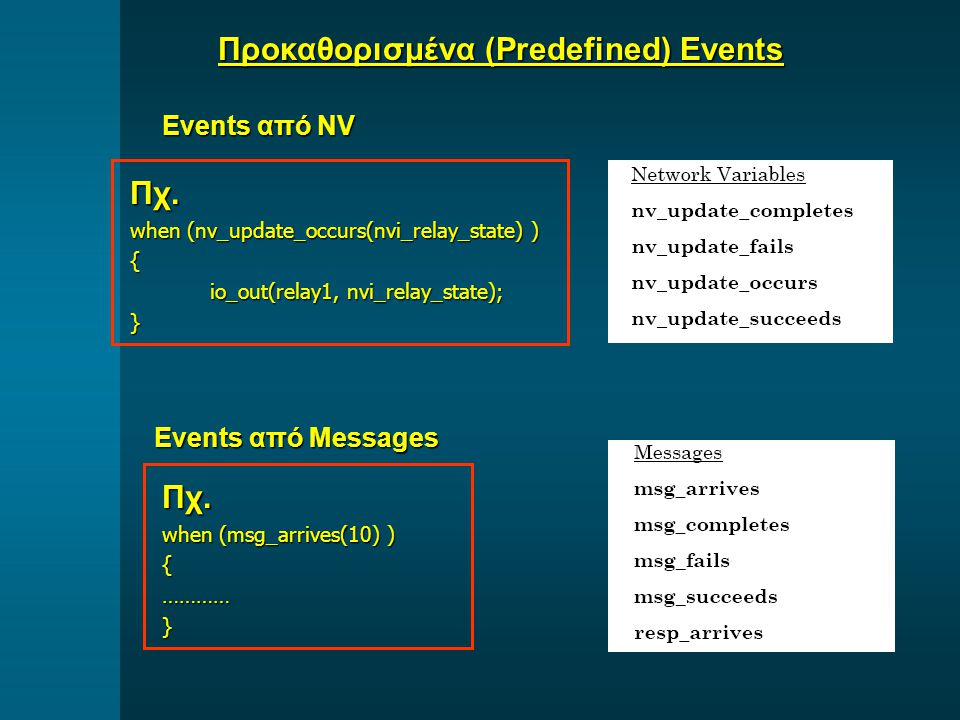 Events από NV Πχ. when (nv_update_occurs(nvi_relay_state) ) { io_out(relay1, nvi_relay_state); io_out(relay1, nvi_relay_state);} Events από Messages Π