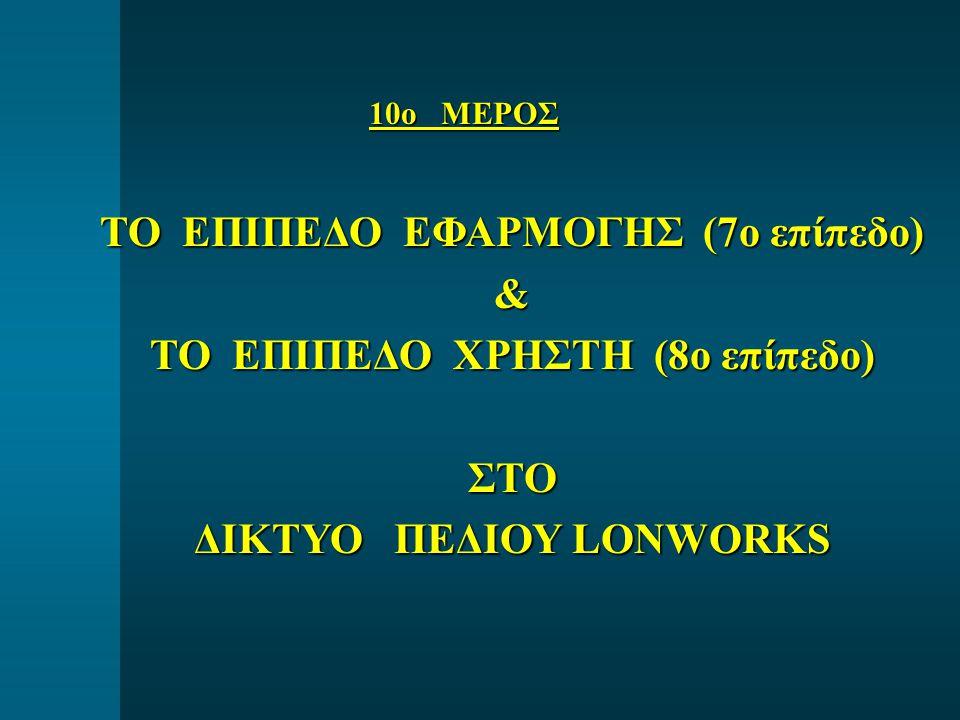 10o ΜΕΡΟΣ ΤΟ ΕΠΙΠΕΔΟ ΕΦΑΡΜΟΓΗΣ (7ο επίπεδο) & ΤΟ ΕΠΙΠΕΔΟ ΧΡΗΣΤΗ (8ο επίπεδο) ΣΤΟ ΔΙΚΤΥΟ ΠΕΔΙΟΥ LONWORKS