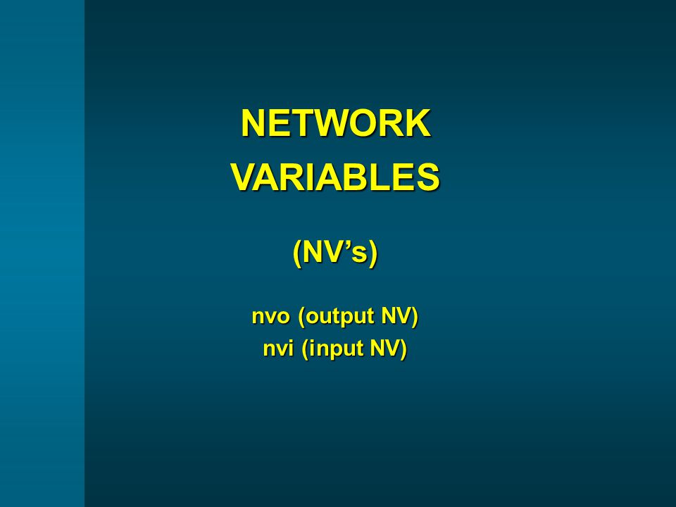NETWORKVARIABLES(NV's) nvo (output NV) nvi (input NV)