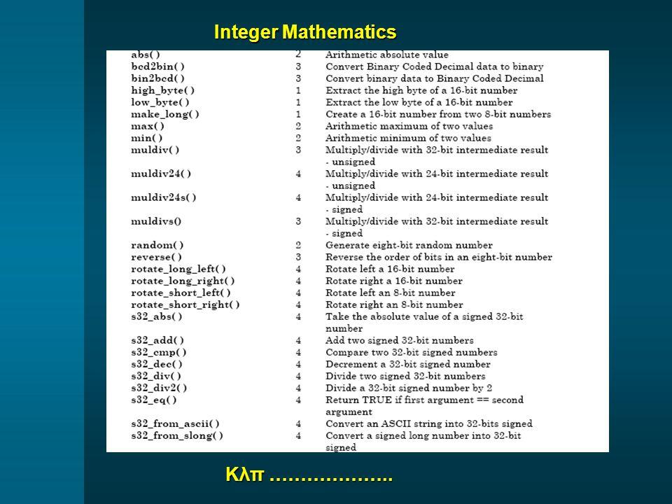 Integer Mathematics Κλπ ………………..