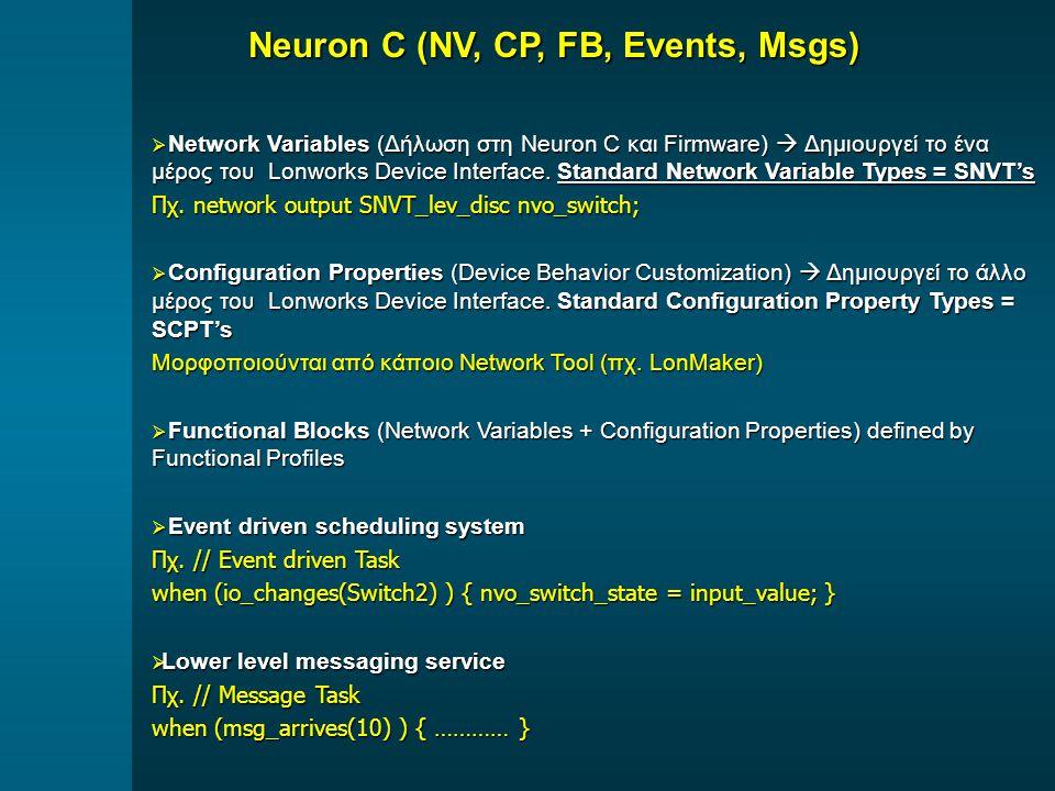  Network Variables (Δήλωση στη Neuron C και Firmware)  Δημιουργεί το ένα μέρος του Lonworks Device Interface.