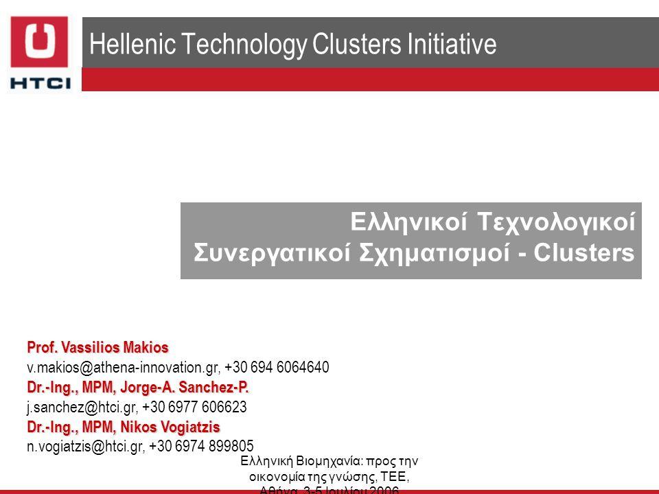 Ελληνική Βιομηχανία: προς την οικονομία της γνώσης, ΤΕΕ, Αθήνα, 3-5 Ιουλίου 2006 Ορισμός Cluster – Συνεργατικών Σχηματισμών ▌ ...κλειστές γεωγραφικές ομάδες διασυνδεδεμένων επιχειρήσεων και συνεργαζόμενων οργανισμών σε ένα συγκεκριμένο τομέα, που συνδέονται με κοινές τεχνολογίες και δεξιότητες.