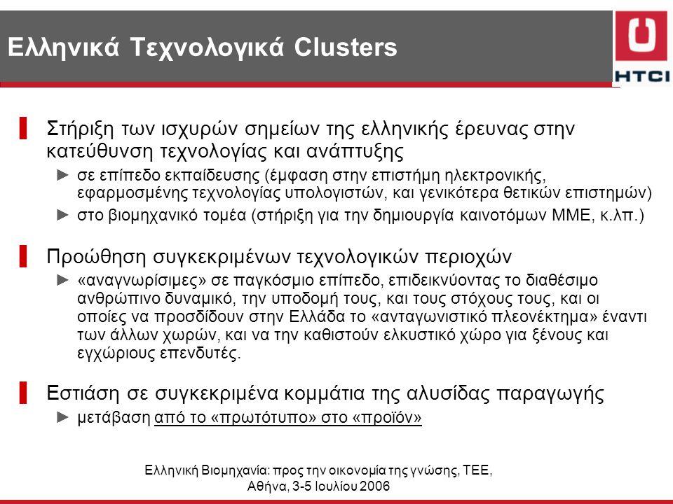 Ελληνική Βιομηχανία: προς την οικονομία της γνώσης, ΤΕΕ, Αθήνα, 3-5 Ιουλίου 2006 Ελληνικά Τεχνολογικά Clusters ▌Στήριξη των ισχυρών σημείων της ελληνικής έρευνας στην κατεύθυνση τεχνολογίας και ανάπτυξης ►σε επίπεδο εκπαίδευσης (έμφαση στην επιστήμη ηλεκτρονικής, εφαρμοσμένης τεχνολογίας υπολογιστών, και γενικότερα θετικών επιστημών) ►στο βιομηχανικό τομέα (στήριξη για την δημιουργία καινοτόμων ΜΜΕ, κ.λπ.) ▌Προώθηση συγκεκριμένων τεχνολογικών περιοχών ►«αναγνωρίσιμες» σε παγκόσμιο επίπεδο, επιδεικνύοντας το διαθέσιμο ανθρώπινο δυναμικό, την υποδομή τους, και τους στόχους τους, και οι οποίες να προσδίδουν στην Ελλάδα το «ανταγωνιστικό πλεονέκτημα» έναντι των άλλων χωρών, και να την καθιστούν ελκυστικό χώρο για ξένους και εγχώριους επενδυτές.