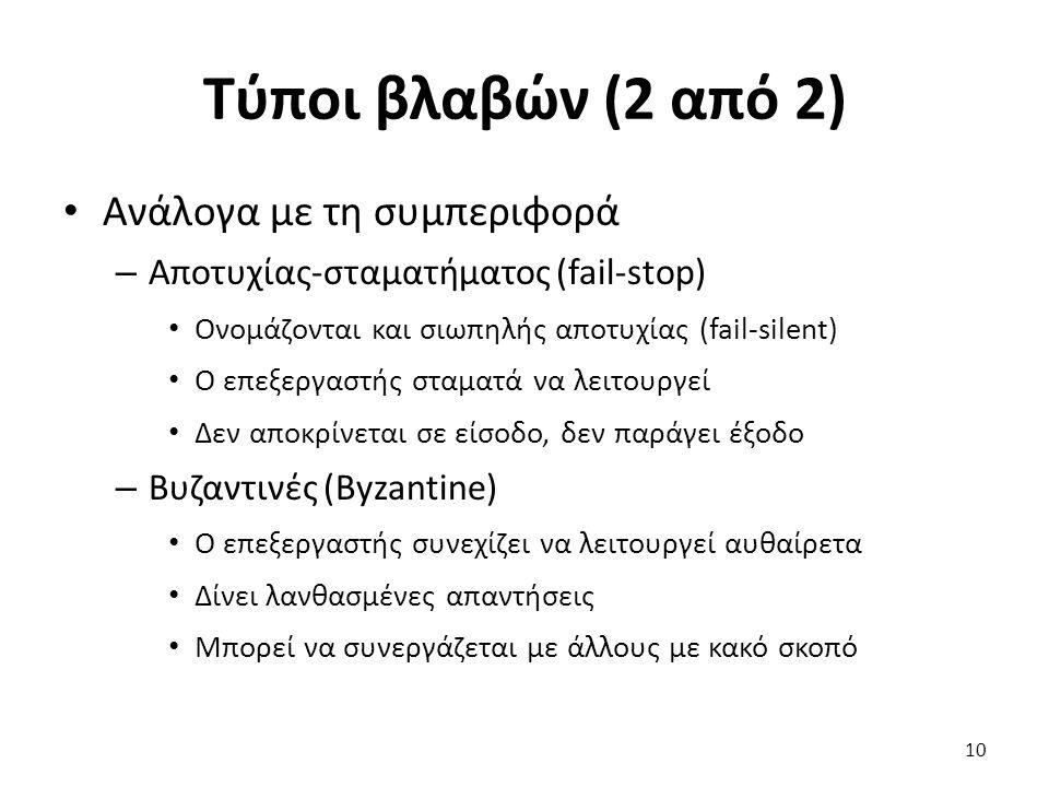 Τύποι βλαβών (2 από 2) Ανάλογα με τη συμπεριφορά – Αποτυχίας-σταματήματος (fail-stop) Ονομάζονται και σιωπηλής αποτυχίας (fail-silent) Ο επεξεργαστής σταματά να λειτουργεί Δεν αποκρίνεται σε είσοδο, δεν παράγει έξοδο – Βυζαντινές (Byzantine) Ο επεξεργαστής συνεχίζει να λειτουργεί αυθαίρετα Δίνει λανθασμένες απαντήσεις Μπορεί να συνεργάζεται με άλλους με κακό σκοπό 10