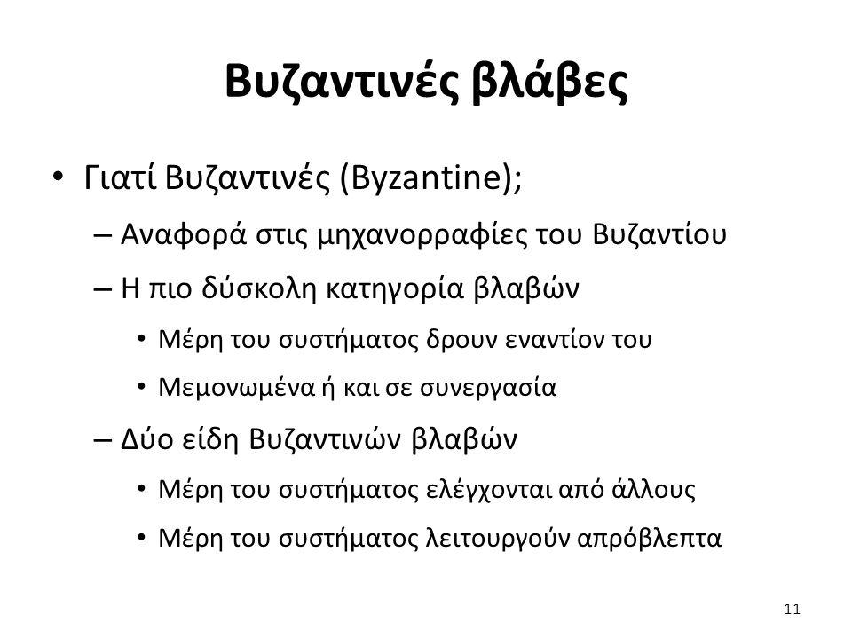 Βυζαντινές βλάβες Γιατί Βυζαντινές (Byzantine); – Αναφορά στις μηχανορραφίες του Βυζαντίου – Η πιο δύσκολη κατηγορία βλαβών Μέρη του συστήματος δρουν εναντίον του Μεμονωμένα ή και σε συνεργασία – Δύο είδη Βυζαντινών βλαβών Μέρη του συστήματος ελέγχονται από άλλους Μέρη του συστήματος λειτουργούν απρόβλεπτα 11