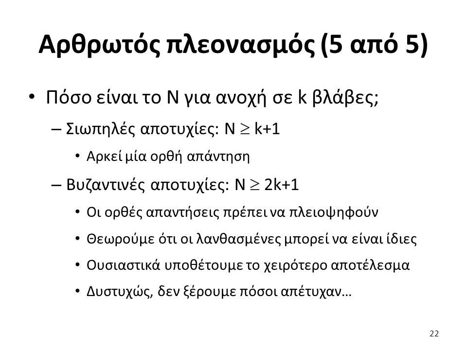 Αρθρωτός πλεονασμός (5 από 5) Πόσο είναι το Ν για ανοχή σε k βλάβες; – Σιωπηλές αποτυχίες: N  k+1 Αρκεί μία ορθή απάντηση – Βυζαντινές αποτυχίες: N  2k+1 Οι ορθές απαντήσεις πρέπει να πλειοψηφούν Θεωρούμε ότι οι λανθασμένες μπορεί να είναι ίδιες Ουσιαστικά υποθέτουμε το χειρότερο αποτέλεσμα Δυστυχώς, δεν ξέρουμε πόσοι απέτυχαν… 22