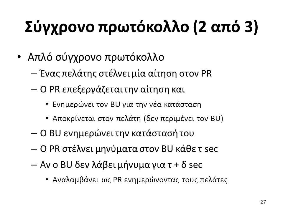 Σύγχρονο πρωτόκολλο (2 από 3) Απλό σύγχρονο πρωτόκολλο – Ένας πελάτης στέλνει μία αίτηση στον PR – Ο PR επεξεργάζεται την αίτηση και Ενημερώνει τον BU για την νέα κατάσταση Αποκρίνεται στον πελάτη (δεν περιμένει τον BU) – Ο BU ενημερώνει την κατάστασή του – Ο PR στέλνει μηνύματα στον BU κάθε τ sec – Αν ο BU δεν λάβει μήνυμα για τ + δ sec Αναλαμβάνει ως PR ενημερώνοντας τους πελάτες 27