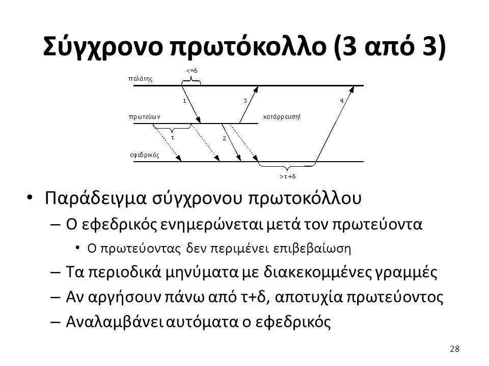 Σύγχρονο πρωτόκολλο (3 από 3) Παράδειγμα σύγχρονου πρωτοκόλλου – Ο εφεδρικός ενημερώνεται μετά τον πρωτεύοντα Ο πρωτεύοντας δεν περιμένει επιβεβαίωση – Τα περιοδικά μηνύματα με διακεκομμένες γραμμές – Αν αργήσουν πάνω από τ+δ, αποτυχία πρωτεύοντος – Αναλαμβάνει αυτόματα ο εφεδρικός 28