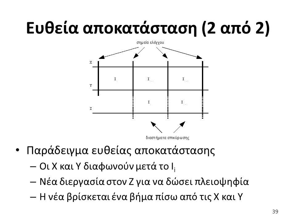 Ευθεία αποκατάσταση (2 από 2) Παράδειγμα ευθείας αποκατάστασης – Οι X και Y διαφωνούν μετά το I i – Νέα διεργασία στον Z για να δώσει πλειοψηφία – Η νέα βρίσκεται ένα βήμα πίσω από τις X και Y 39