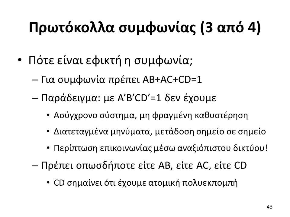 Πρωτόκολλα συμφωνίας (3 από 4) Πότε είναι εφικτή η συμφωνία; – Για συμφωνία πρέπει AB+AC+CD=1 – Παράδειγμα: με A'B'CD'=1 δεν έχουμε Ασύγχρονο σύστημα, μη φραγμένη καθυστέρηση Διατεταγμένα μηνύματα, μετάδοση σημείο σε σημείο Περίπτωση επικοινωνίας μέσω αναξιόπιστου δικτύου.