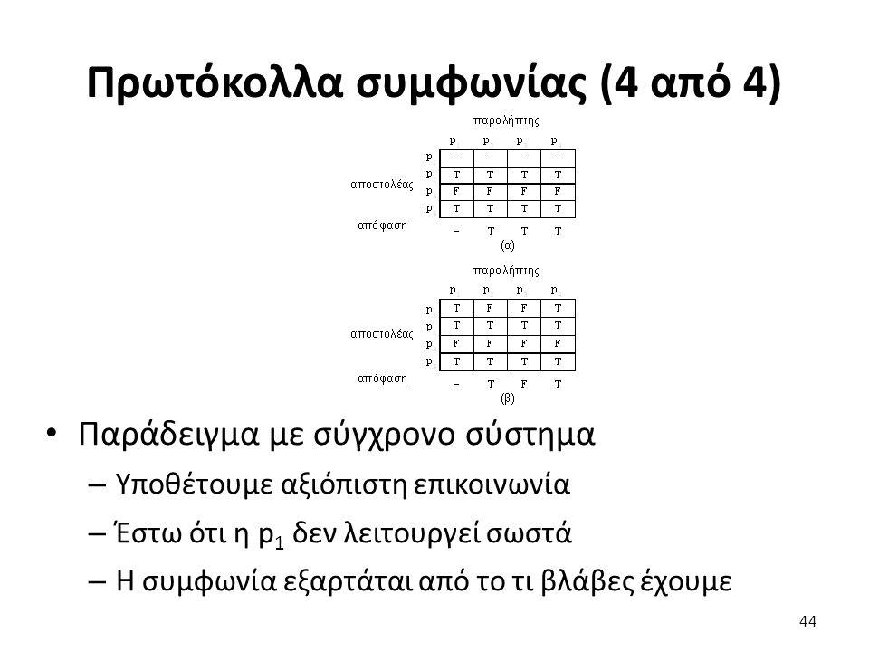 Πρωτόκολλα συμφωνίας (4 από 4) Παράδειγμα με σύγχρονο σύστημα – Υποθέτουμε αξιόπιστη επικοινωνία – Έστω ότι η p 1 δεν λειτουργεί σωστά – Η συμφωνία εξαρτάται από το τι βλάβες έχουμε 44