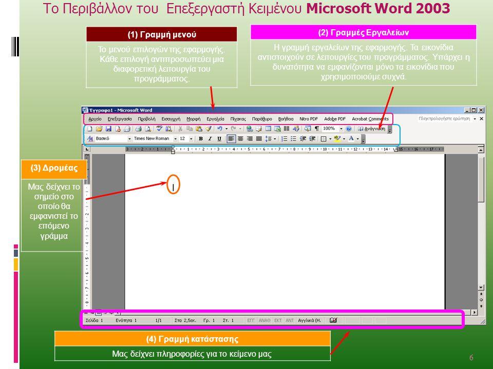 Το Περιβάλλον του Επεξεργαστή Κειμένου Microsoft Word 2003 (1) Γραμμή μενού Το μενού επιλογών της εφαρμογής.
