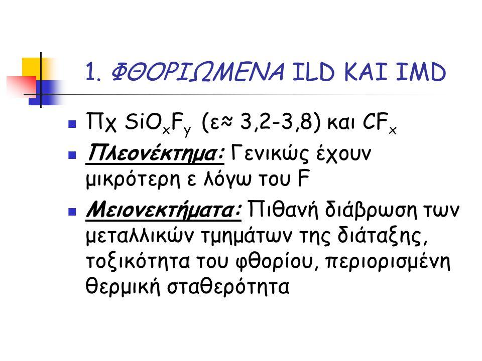 1. ΦΘΟΡΙΩΜΕΝΑ ILD ΚΑΙ IMD Πχ SiO x F y (ε≈ 3,2-3,8) και CF x Πλεονέκτημα: Γενικώς έχουν μικρότερη ε λόγω του F Μειονεκτήματα: Πιθανή διάβρωση των μετα