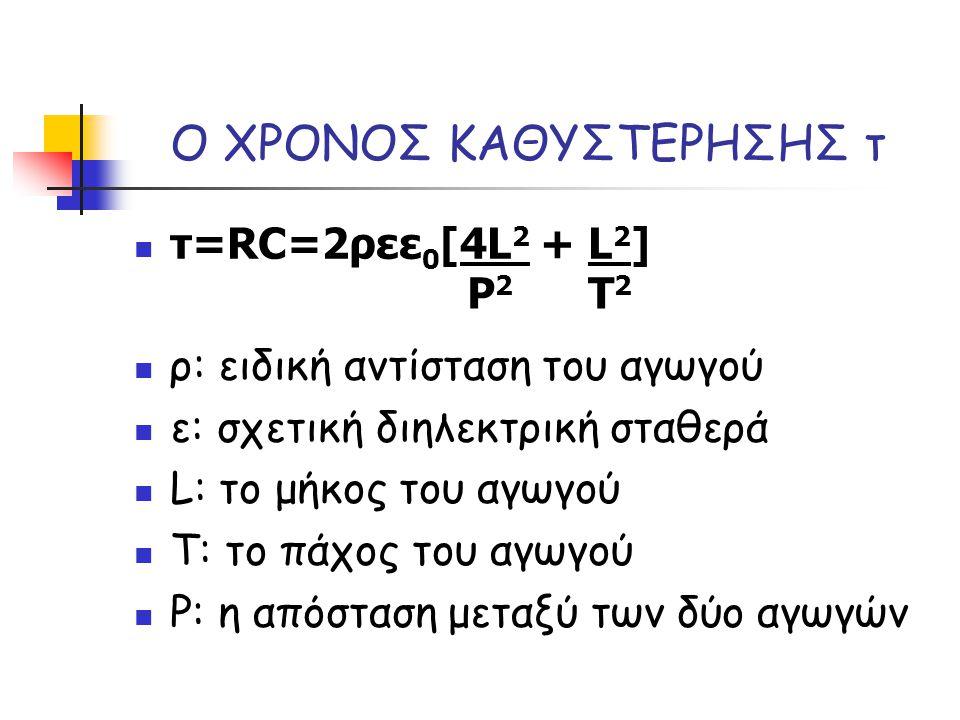 Ο ΧΡΟΝΟΣ ΚΑΘΥΣΤΕΡΗΣΗΣ τ τ=RC=2ρεε 0 [4L 2 + L 2 ] ρ: ειδική αντίσταση του αγωγού ε: σχετική διηλεκτρική σταθερά L: το μήκος του αγωγού Τ: το πάχος του αγωγού Ρ: η απόσταση μεταξύ των δύο αγωγών P2P2 T2T2