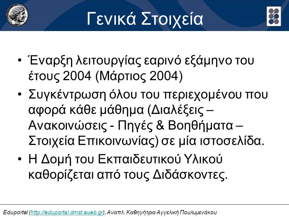 Έναρξη λειτουργίας εαρινό εξάμηνο του έτους 2004 (Μάρτιος 2004) Συγκέντρωση όλου του περιεχομένου που αφορά κάθε μάθημα (Διαλέξεις – Ανακοινώσεις - Πη