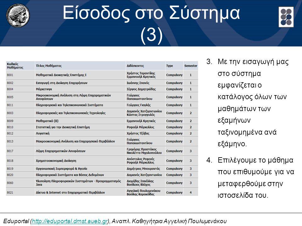 Είσοδος στο Σύστημα (3) Eduportal (http://eduportal.dmst.aueb.gr), Αναπλ. Καθηγήτρια Αγγελική Πουλυμενάκουhttp://eduportal.dmst.aueb.gr 3.Με την εισαγ