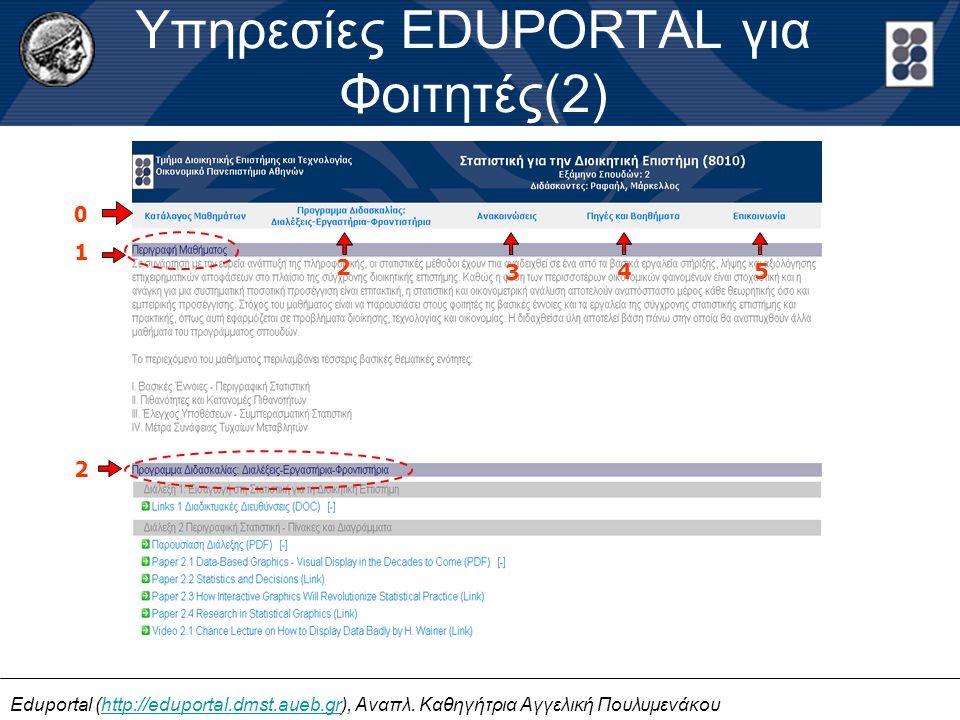 Eduportal (http://eduportal.dmst.aueb.gr), Αναπλ. Καθηγήτρια Αγγελική Πουλυμενάκουhttp://eduportal.dmst.aueb.gr Υπηρεσίες EDUPORTAL για Φοιτητές(2) 1