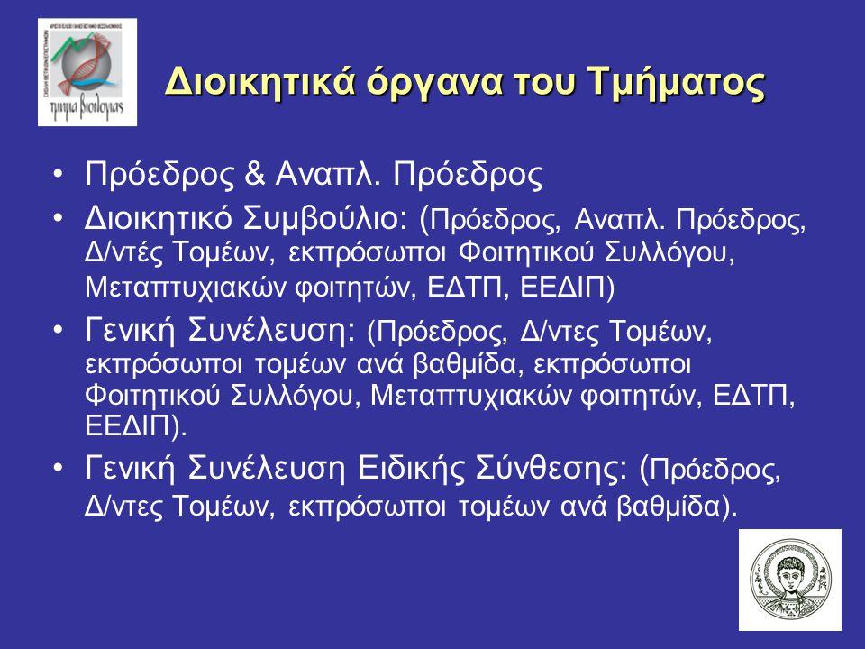 Διοικητικά όργανα του Τμήματος Διοικητικά όργανα του Τμήματος Πρόεδρος & Αναπλ.