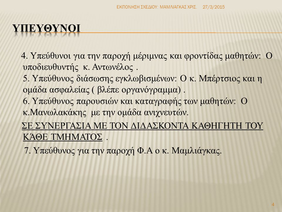8.Υπεύθυνος πυρόσβεσης: Ο κ. Τζαμπαζάκης με τον κ.