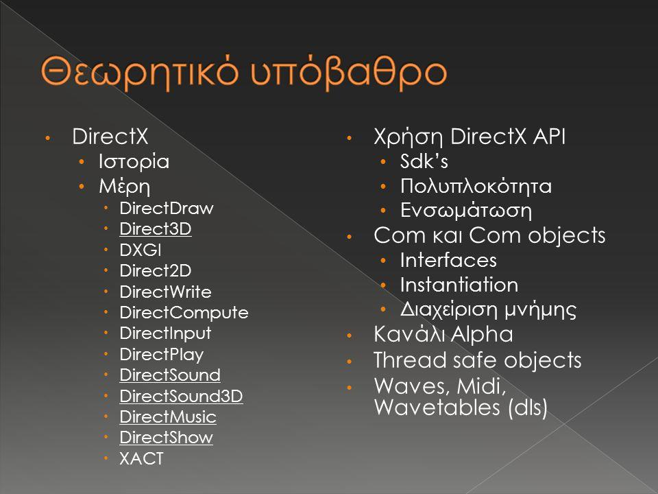 DirectX Ιστορία Μέρη  DirectDraw  Direct3D  DXGI  Direct2D  DirectWrite  DirectCompute  DirectInput  DirectPlay  DirectSound  DirectSound3D  DirectMusic  DirectShow  XACT Χρήση DirectX API Sdk's Πολυπλοκότητα Ενσωμάτωση Com και Com objects Interfaces Instantiation Διαχείριση μνήμης Κανάλι Alpha Thread safe objects Waves, Midi, Wavetables (dls)