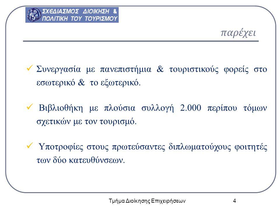 παρέχει Τμήμα Διοίκησης Επιχειρήσεων 4 email: mstath @aege an.gr Συνεργασία με πανεπιστήμια & τουριστικούς φορείς στο εσωτερικό & το εξωτερικό. Βιβλιο