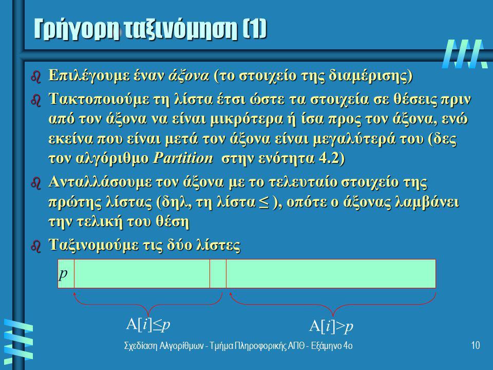 Σχεδίαση Αλγορίθμων - Τμήμα Πληροφορικής ΑΠΘ - Εξάμηνο 4ο10 Γρήγορη ταξινόμηση (1) b Επιλέγουμε έναν άξονα (το στοιχείο της διαμέρισης) b Τακτοποιούμε