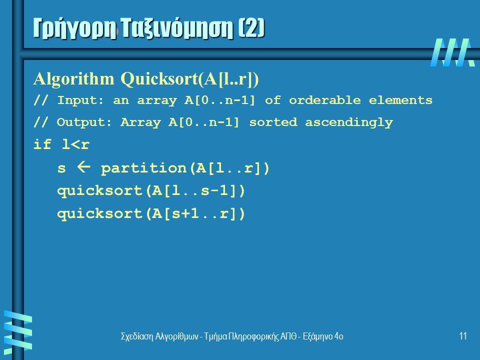 Σχεδίαση Αλγορίθμων - Τμήμα Πληροφορικής ΑΠΘ - Εξάμηνο 4ο11 Γρήγορη Ταξινόμηση (2) Algorithm Quicksort(A[l..r]) // Input: an array A[0..n-1] of ordera